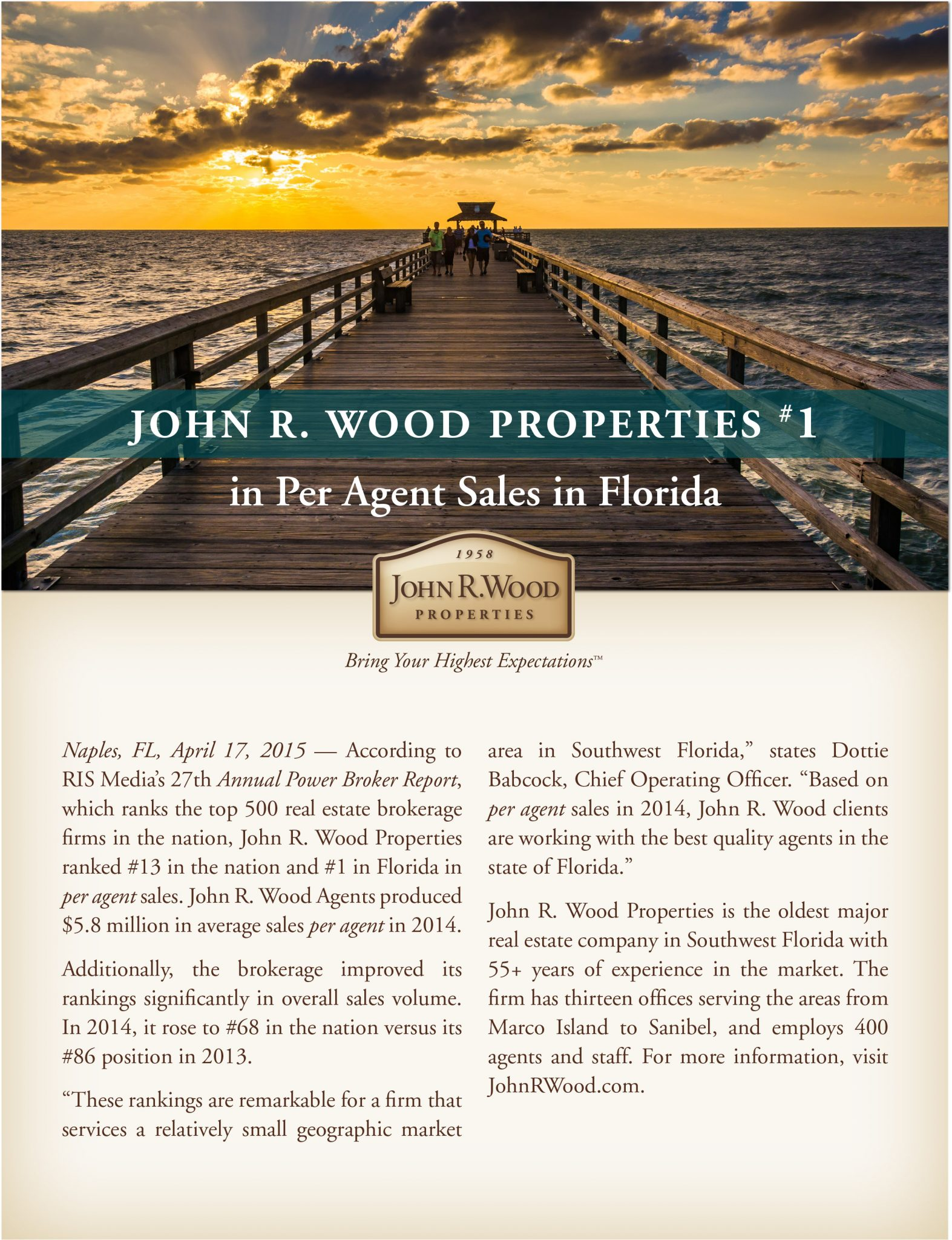 JohnRWood Properties #1 in per agent sales in Florida.indd